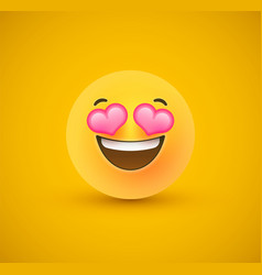 Heart eyes yellow emoticon face 3d background vector
