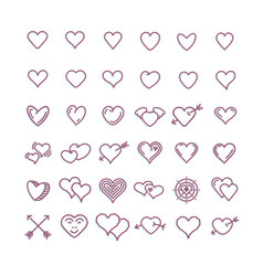 heart icon set romantic symbols linear art vector image
