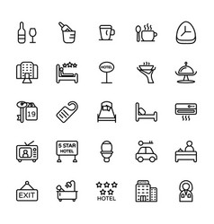 Hotel line icons 3 vector