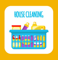 house cleaning supplies social media banner vector image