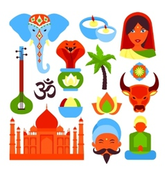 India symbols set vector image
