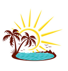 island symbol with sea and palm trees vector image