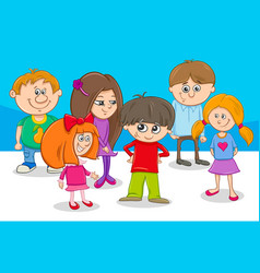 kid characters group cartoon vector image