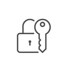 Lock and key line icon vector