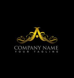 luxury logo wings letters a luxury logo vector image