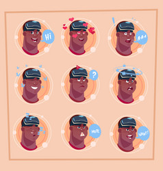Man different face african american male emoji vector