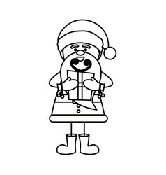 monochrome contour caricature of santa claus with vector image