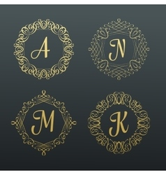 Monograms and calligraphic borders vector