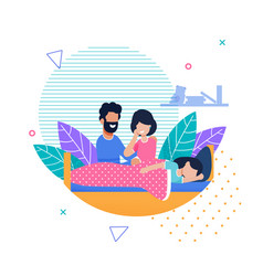 Mother and father looking at sleeping daughter vector