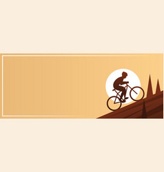 Mountain biking action sport banner vector