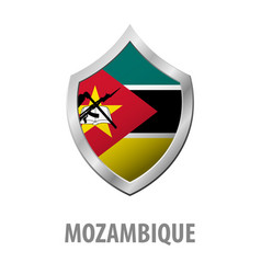 Mozambique flag on metal shiny shield vector
