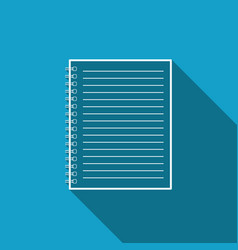 notebook icon with long shadow spiral notepa vector image