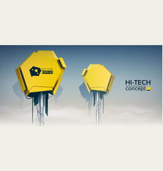 Of two technical high tech vector
