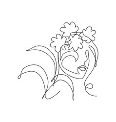One single line drawing beauty abstract face vector