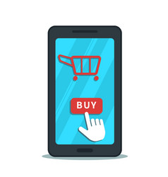 Online shopping with mobile app business concept vector