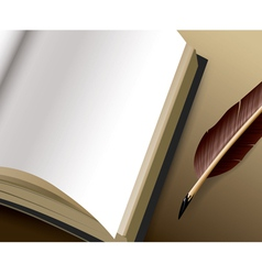 Open book with blank pages and feather pen ink vector
