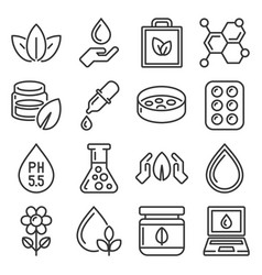 Organic eco cosmetics icons set line style vector