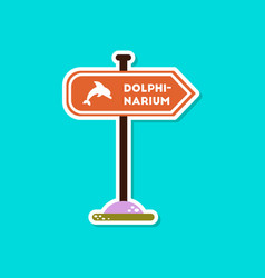 Paper sticker on stylish background dolphinarium vector