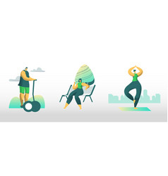 people city dwellers outdoors activity male and vector image