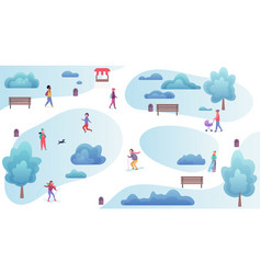 people resting and playing in the winter park top vector image