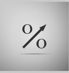 percent up arrow icon isolated on grey background vector image