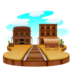 Railroad in the western town vector