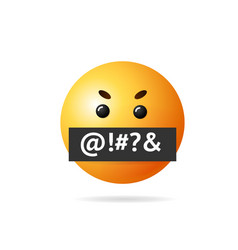 Realistic detailed 3d angry emoji sign vector