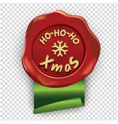 Red wafer with ho-ho-ho xmas inscription and green vector
