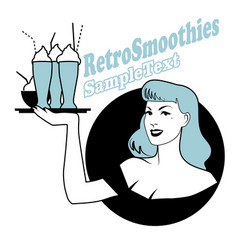 retro emblem pinup girl carrying a tray vector image