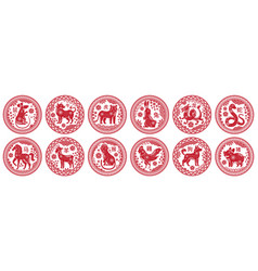 round chinese zodiac signs circle stamps vector image