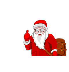 santa with brown leather bag portrait isolated on vector image