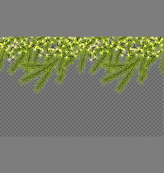 seamless border with realistic firtree sparkling vector image