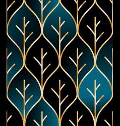 Seamless golden wire leaf oriental pattern vector