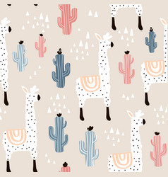 seamless pattern with lamma cactus and hand drawn vector image