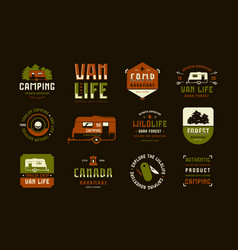 Set label and logo design for camping lifestyle vector