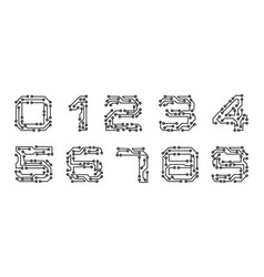 set numerals made in circuit texture computer and vector image