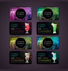 set of cocktail party card vector image