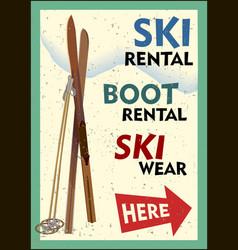 ski rental retro poster design with pair skis vector image