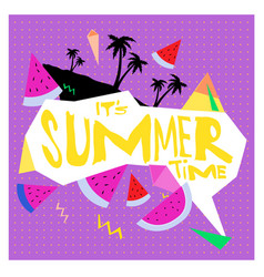 Summer time banner design with white abstract vector