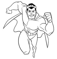 Superhero running frontal view line art vector