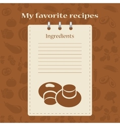 Template for recipe books vector