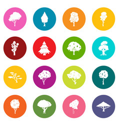 trees icons many colors set vector image