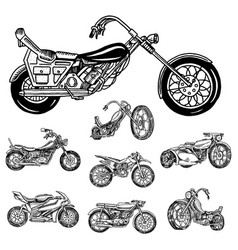 Vintage motorcycle retro bicycle extreme biker vector