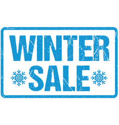 Winter sale blue seal rough letters isolated vector