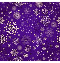 Winter violet seamless pattern with gold snowflake vector image