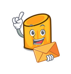 With envelope rigatoni character cartoon style vector