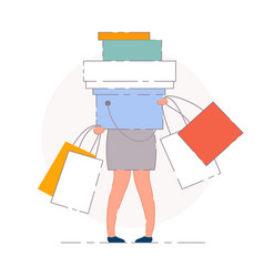 Woman shopping bags isolated vector