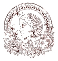Zen tangle portrait of a woman vector