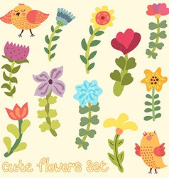 Cute hand drawn flowers set vector image
