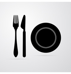 Fork Plate and Knife vector image